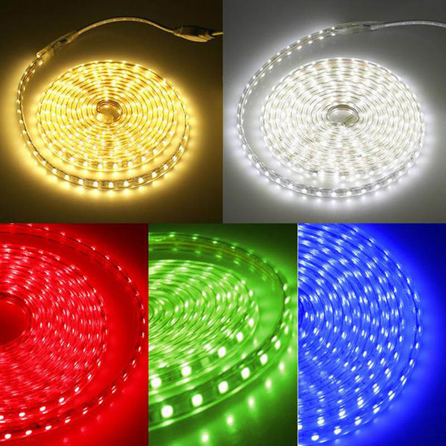 the latest 89779 24b63 US $11.6 |AC 220v 230v led strip light waterproof 5050 ip65 ip67 cool white  wame white red green blue red outdoor led tape rope with plug-in LED ...