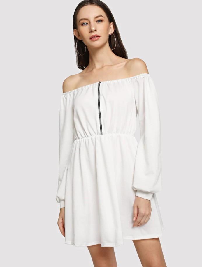 633d0df96e0 Весенне-Летнее белое платье женское платье-толстовка с вырезом лодочкой  Zippe с эластичной резинкой