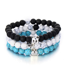 Chic Natural Bead Cat Bracelet For Women Men Distance Jewelry Fashion Black Matt Stone Bracelets Charm Bangles Pulseras(China)