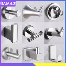 Robe Hooks Wall Mounted Coat Rack Brushed Stainless Steel Bathroom for Towels Key Bag Clothes Double Hanger