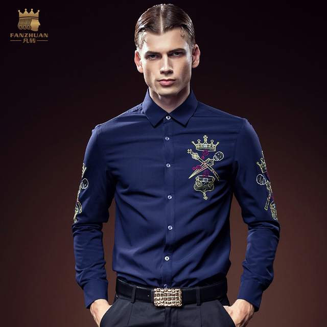 Free Shipping fashion casual male long sleeved men's 2016 man embroidered velvet court personality slim thickened shirt 612107