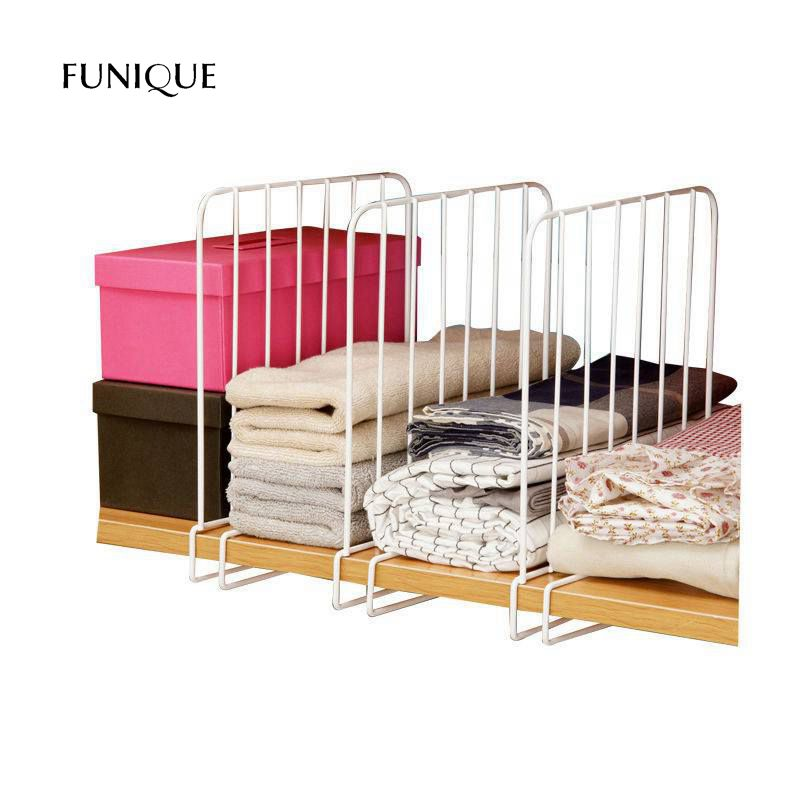 FUNIQUE 3PCS Closet Shelf Dividers Space Saving Shelves Wire Design White Wardrobe Chest Drawer Organizer Clothes Storage Rack ...