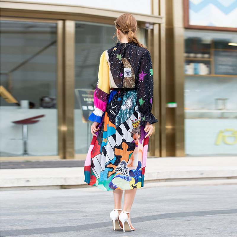 HIGH QUALITY Newest Fashion 2019 Designer Runway Suit Set Women/'s Color Block Print Blouse Shirt Gorgeous Print Skirt Set