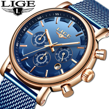 Fashion Luxury Brand LIGE Watches Men Stainless Steel Mesh Band Quartz Sport Watch Chronograph Men's Wrist Watches Clock Men цена