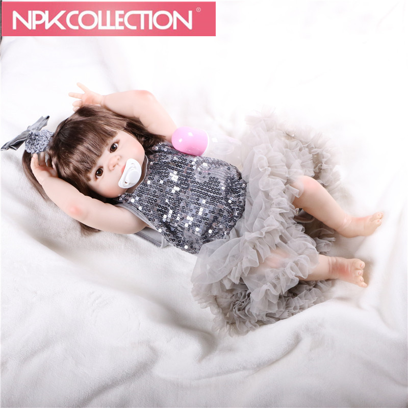 NPK New Design New Born Baby Girl Doll Toy 23'' Realistic Reborn Dolls Silicone Vinyl Full Body Alive bebe Boneca Reborns N87-89