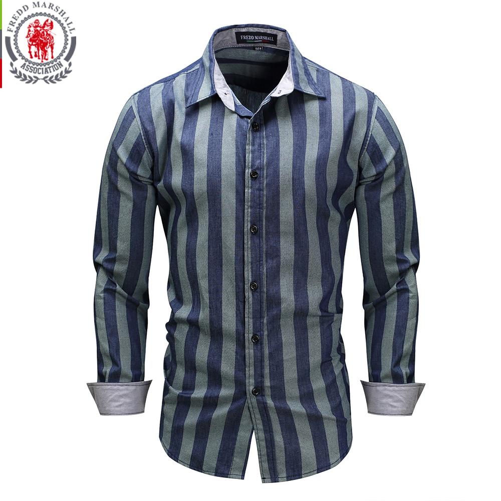 Fredd Marshall 2017 New Blue Striped Shirts Men 100