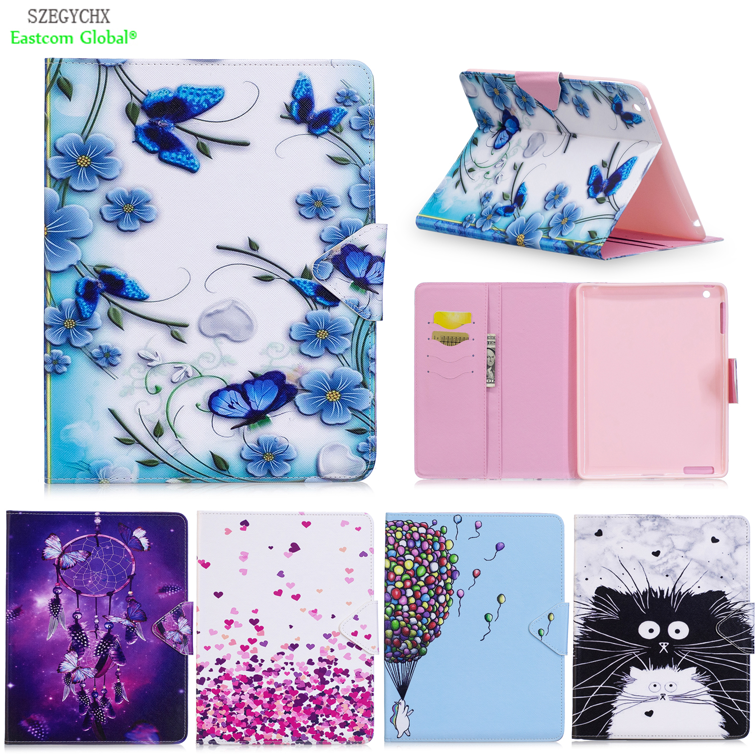 Cover For iPad 234,SZEGYCHX PU Leather Smart Stand Shell Tablet Case For ipad 4 2 3,9.7 inch with Auto Wake Up/Sleep tablet case cover for ipad air 1 szegychx shockproof retina smart case slim designer pu protetive cover for ipad 5
