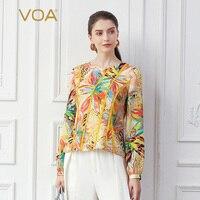 VOA Boho Floral Print 100% Silk T Shirt Women Tops Orange Harajuku Long Sleeve Streetwear Tee haut femme Vogue Pullover B807