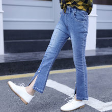 2019 Girls Jeans Teenager Slit Denim Pants with Pearl Toddler Children Casual Trousers Kids for 4-13 Year Old
