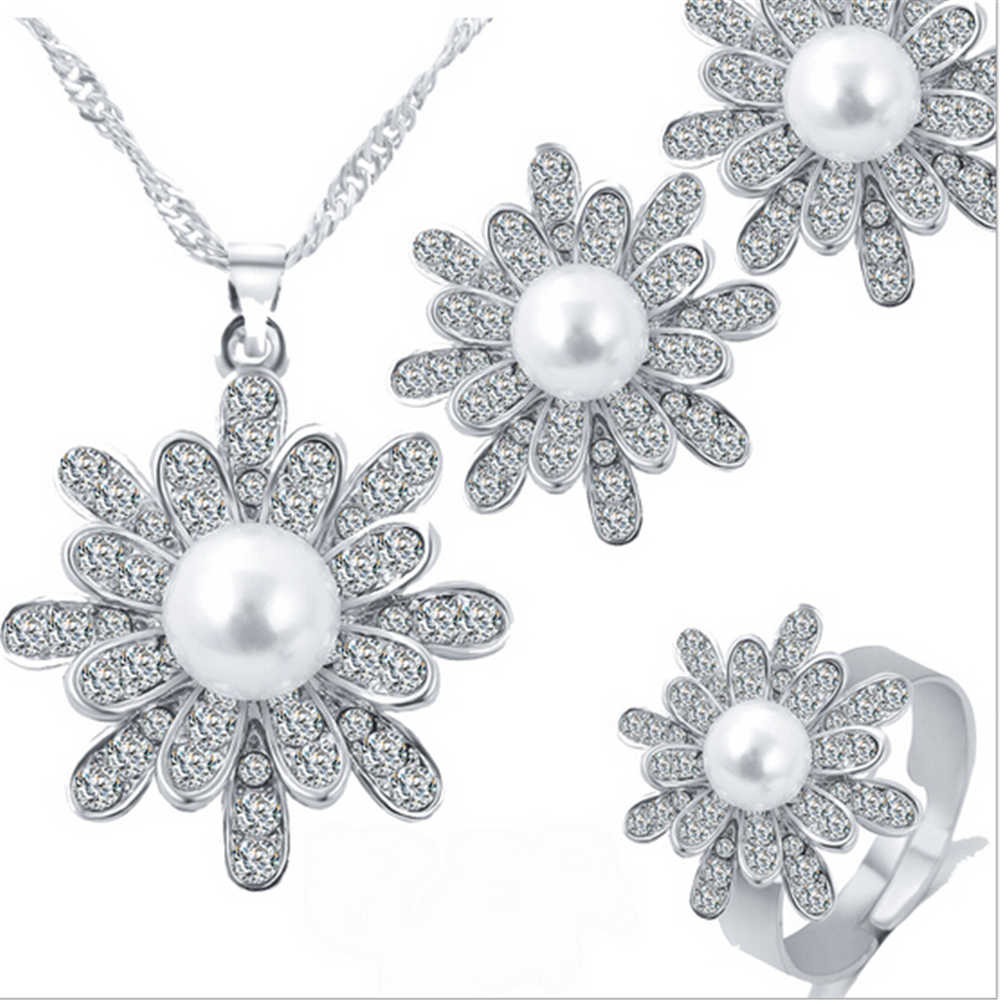 ZOSHI Elegant Simulated Pearl Bridal Jewelry Sets Wedding Jewelry Leaf Crystal Gold  Silver Plated Necklaces Earrings Sets