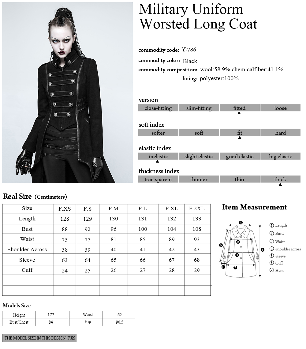 PUNKRAVE Women Punk Military Uniform High Collar Woolen Jacket Coat Plus Size Black Motorcycle Casual Ladies Outwear Trench Coat in Wool amp Blends from Women 39 s Clothing