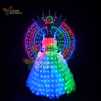 LED Lady clothing Luminous Wing Glowing Wedding Dresses LED Clothes Luminous Long Skirt Women Ballroom Perform Clothing
