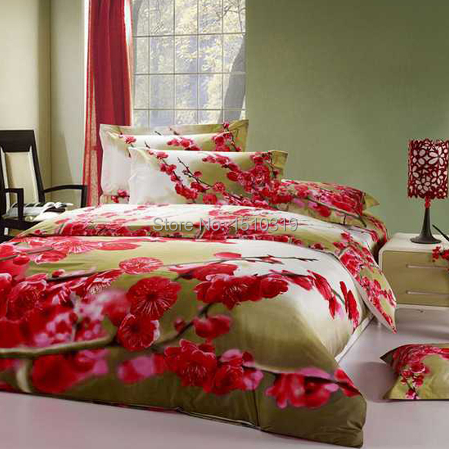 Oil Painting Beautiful Red Plum Bedding Sets 100 Cotton 4pcs Duvet Cover Flatsheet Pillowcase For Queen King Size In From Home Garden On