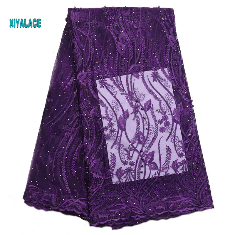 African Lace Fabric 2019 High Quality Nigerian Lace Fabrics Embroidery French Tulle Lace With Stones Fabric YA2257B-6
