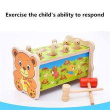 High Quality Wood Noise Maker Baby Toy Musical Instrument Wood Sound Knock Ball Wooden Toy Hit Gopher Hamster Game birthday gift