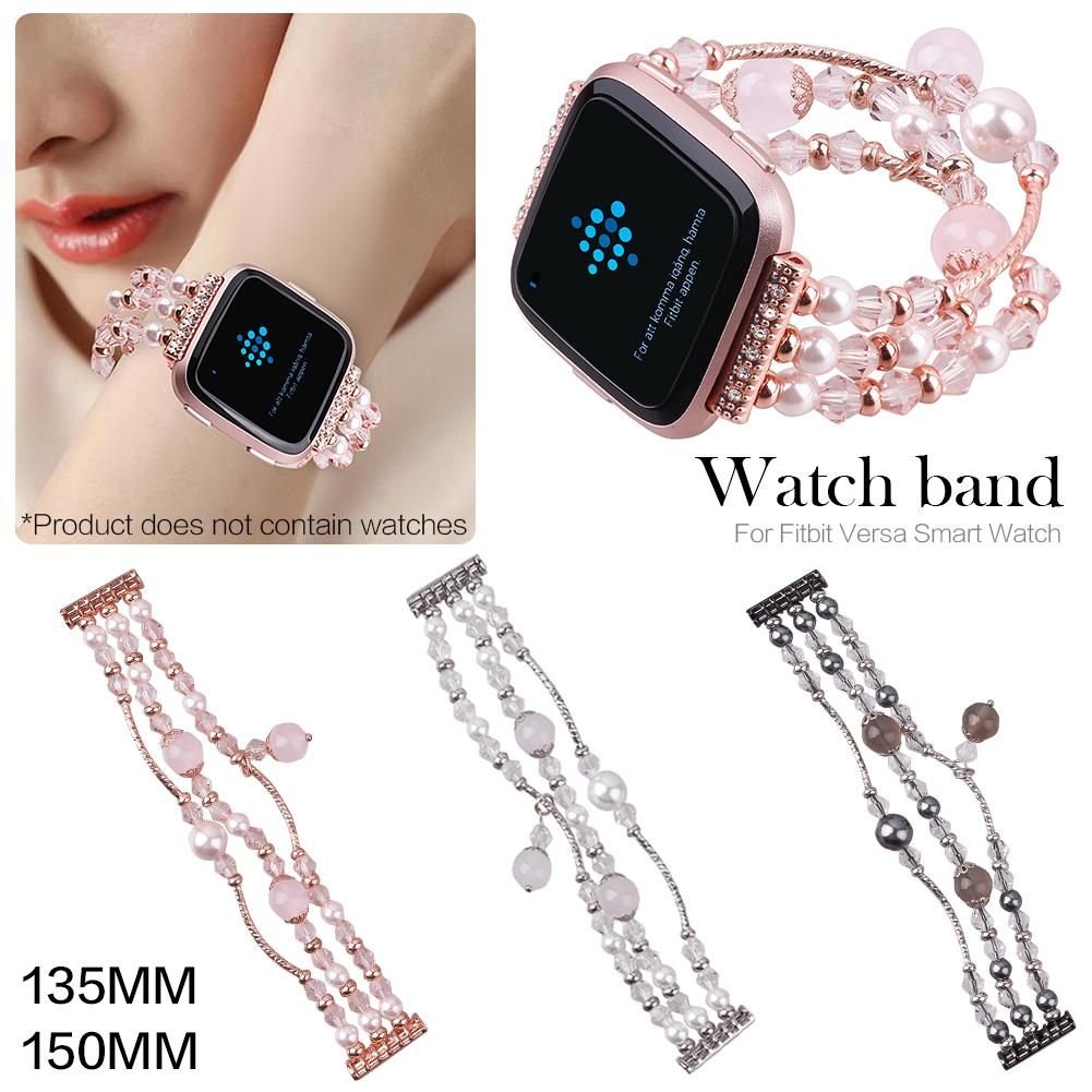 Fashion Jewelry Beads Agate Type Watchband For Fitbit Versa Replacement Smartwatch Band Wrist Strap For Fitbit Versa Smart Watch