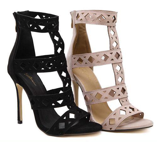 Tamaño 4 ~ 9 de Verano Roma Zapatos de Las Mujeres 2017 Hot Casual Negro Zapatos de Tacones Altos Sexy Mujer Bombas zapatos mujer (Chenk Longitud de Pie)