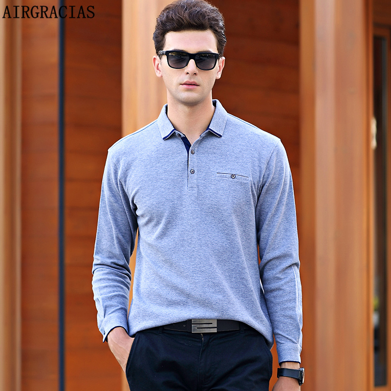 00aff239c7d AIRGRACIAS Polo Shirt England Style Solid 6 Color Polo Men Brand Clothing  Mens Long Sleeve Polo Shirts 100% Cottton Camisa 8887
