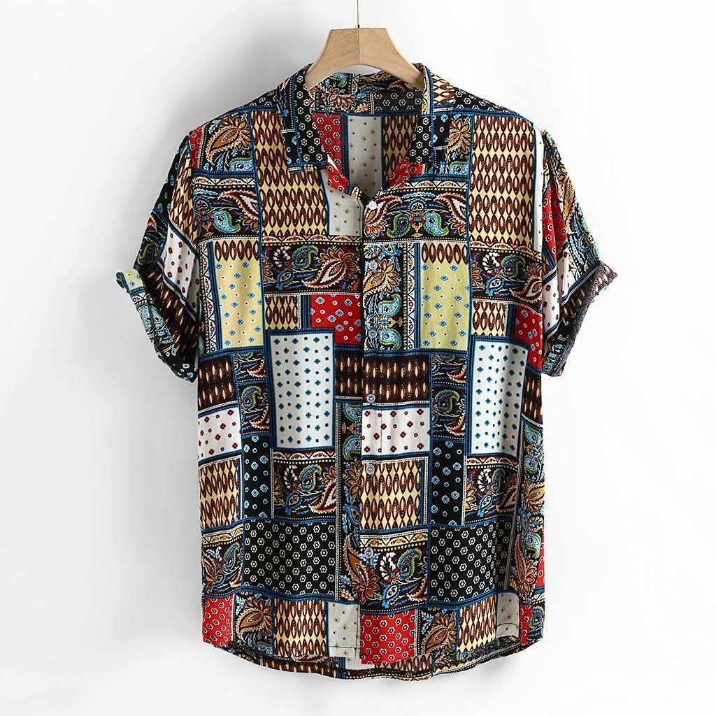 Стильный Hauts для мужчин мужские натуральный хлопок с красочным принтом свободного кроя, отложной воротник, футболка с коротким рукавом Ropa de hombre camisa