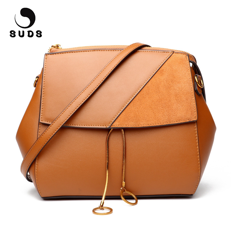 SUDS Brand Women Genuine Leather Shoulder Bag 2017 Luxury Handbags Women Bags Designer Female Vintage Cow Leather Crossbody Bags suds brand women casual 100