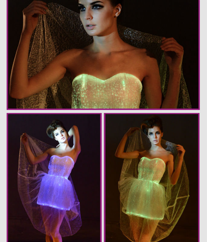 17fashion women sexy vestidos led wedding party dress Turquoise Ball Gown luminous fiber optic Dress women mini carnival dress 3