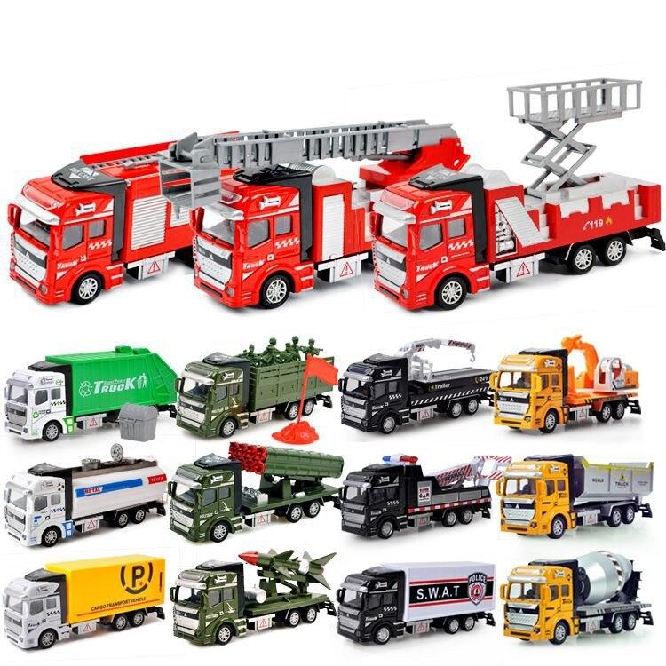 1:48 camion de pompier en alliage moulé sous pression pour enfants, camion de sauvetage à canon à eau, ensemble de modèles de camion d'ingénierie de Transport militaire