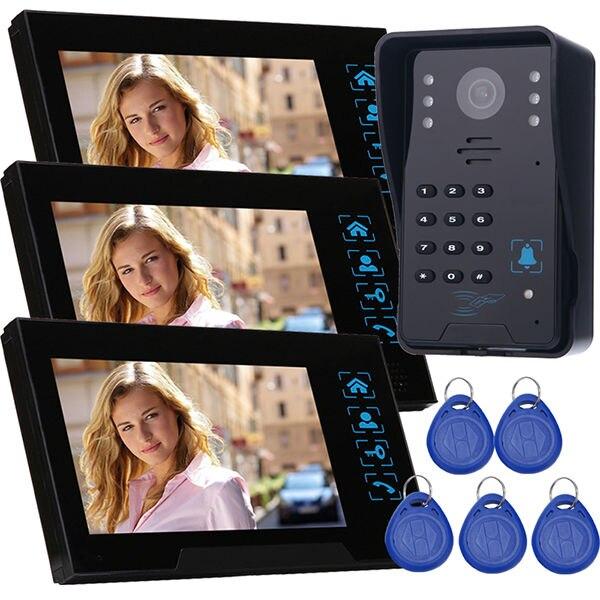 wholesales Remote control unlock wired video door intercom home security door phone doorbell 3 monitors with IR door camera