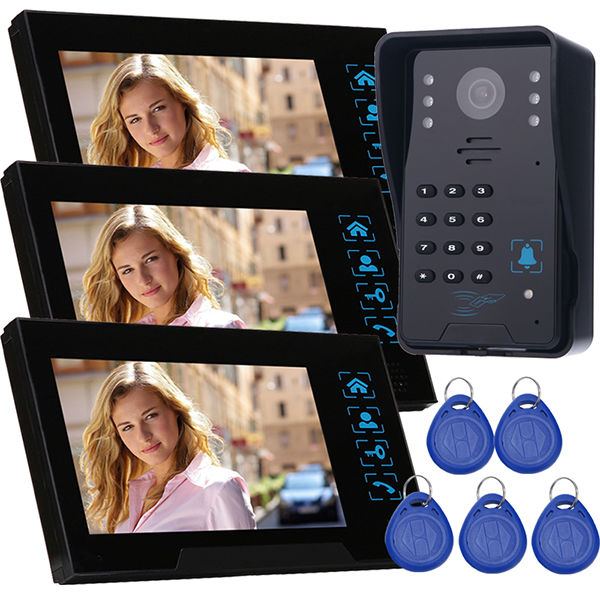 wired video door intercom Remote control unlock good quantily home security door phone doorbell 3 monitors with IR door camera