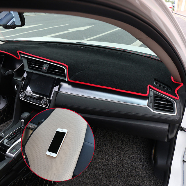 For Honda Civic 10th 2016 2017 2018 Lhd Car Dashboard Covers Mat Avoid Light Pad Instrument Platform Cushion Carpets Accessories