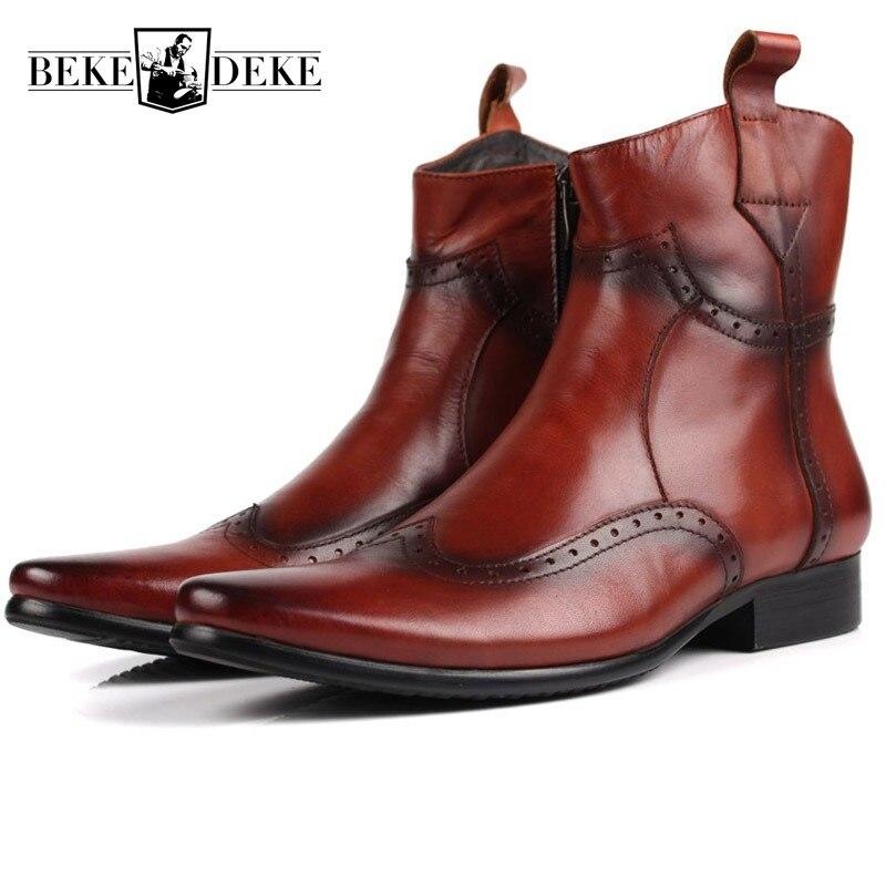 Hiver hommes bottes Top qualité en cuir véritable bottes d'équitation Vintage à la main bout pointu Punk Brogue mode Biker Martin chaussures