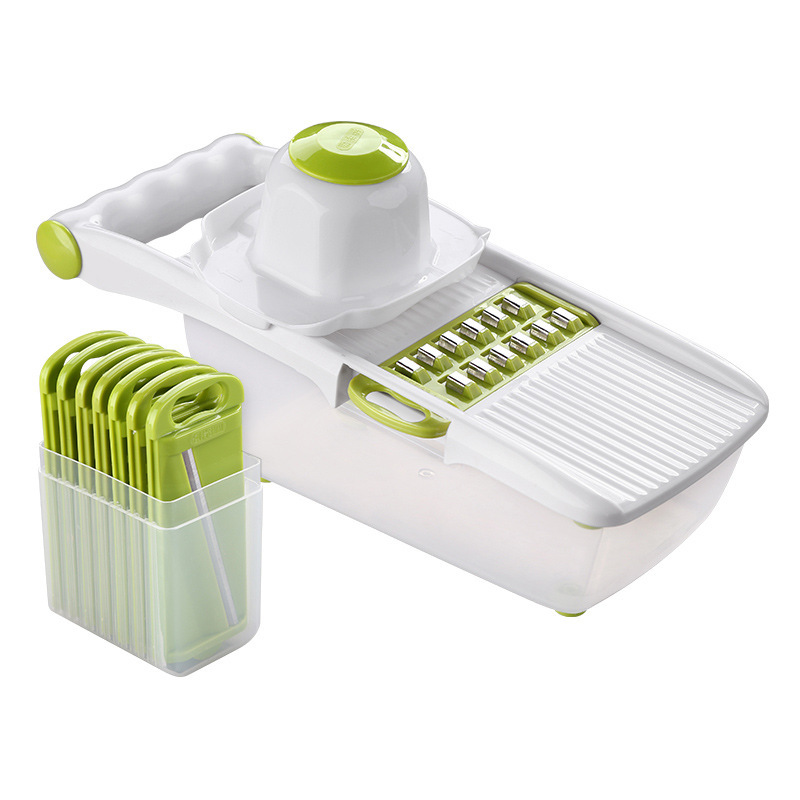 Manual Mandoline Slicer with 8 Interchangeable Blades Used as Potato Peeler Carrot Grater