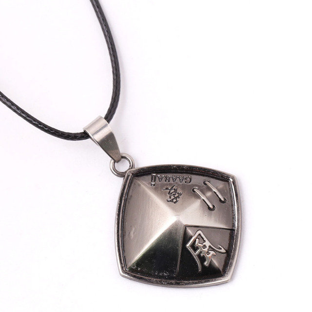 Anime Naruto Necklace Gaara Pendant necklace hat silver bronze Leather cord Necklace charms metal