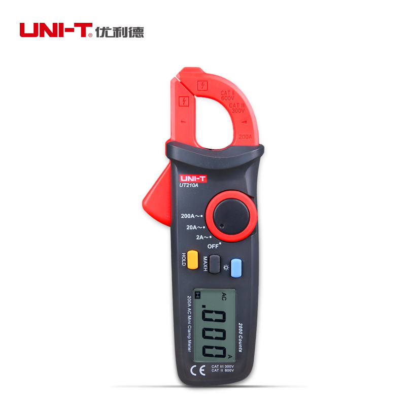 UNI-T UT210A Auto Range Digital Clamp Multimeter 2A 20A 200A Current Meter Multi Tester AC Ammeter Data Hold LCD Display gifted high new dual digital open small clamp multimeter clamp meter backlit digital display multi function ua2008e
