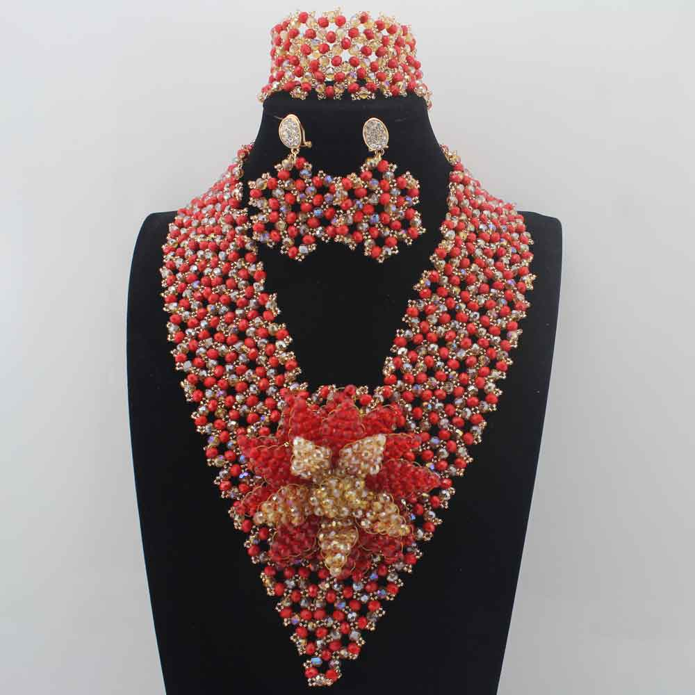 2019 Hot Sale Garnet Crystal Beads African Jewelry Sets earrings Plated Women Wedding Party Necklace Set Free Shipping W139522019 Hot Sale Garnet Crystal Beads African Jewelry Sets earrings Plated Women Wedding Party Necklace Set Free Shipping W13952