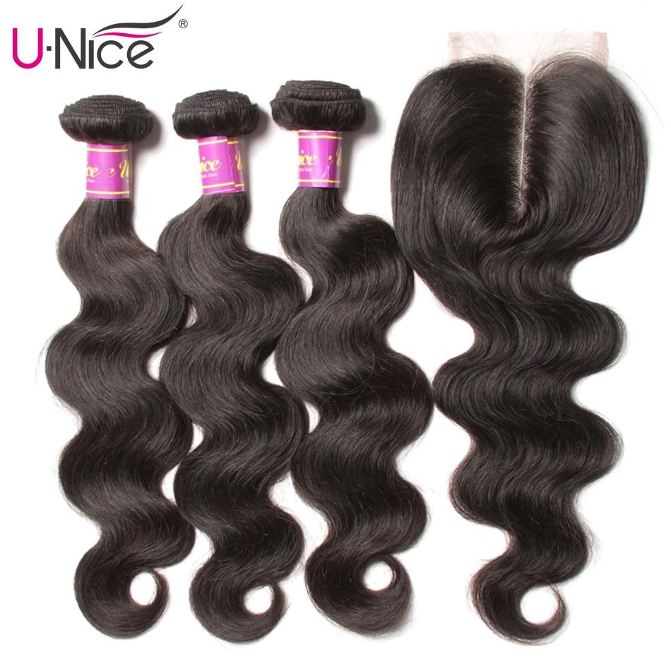 "HTB1ntFca.zrK1RjSspmq6AOdFXaH UNICE Hair Brazilian Body Wave Remy Hair Bundles With Closure 4PCS Human Hair Bundles With Closure 8-30 ""Remy Hair Extension"