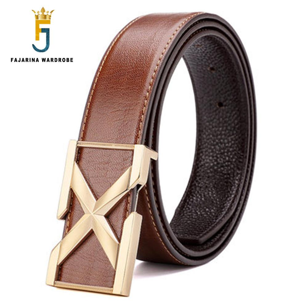 FAJARINA 2017 New Arrival Design Mens Quality Cowhide Genuine Smooth Buckle Black Belts for Men Leather Mens Belt Jeans LUFJ539