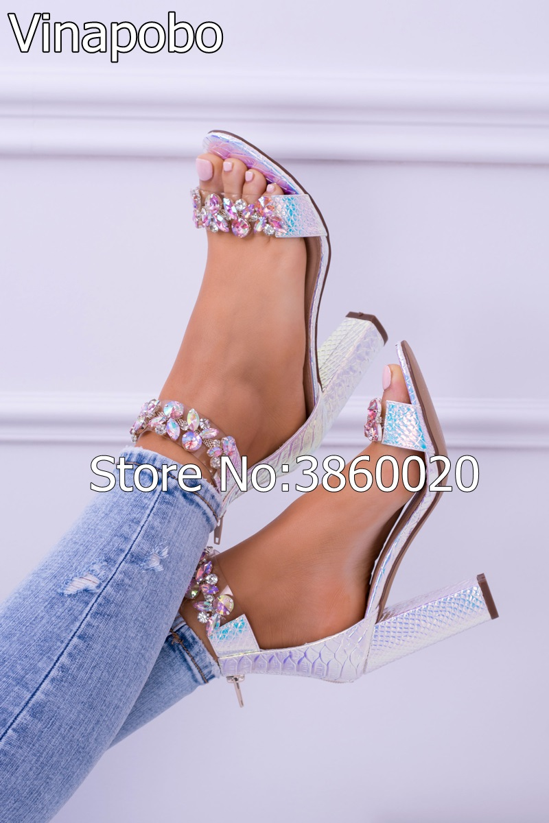 Vinapobo Sexy Women Sandals High Heels Shoes Rhinestone Thick Heel Sandals Woman Open Toe Crystal Ankle