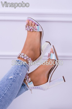 Vinapobo Sexy Women Sandals High Heels Shoes Rhinestone Thick Heel Sandals Woman Open Toe Crystal Ankle Strap Casual Shoes