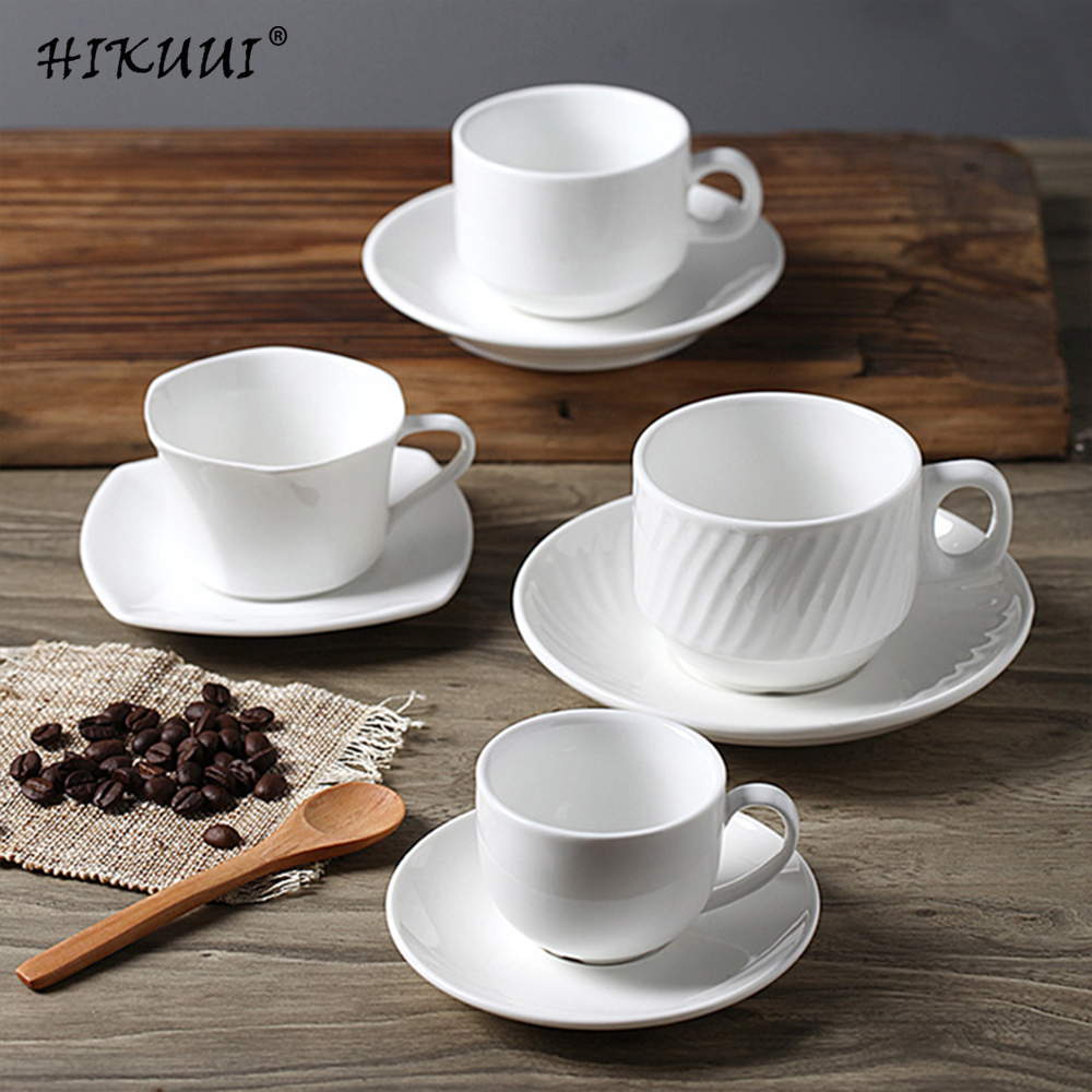 Белые фарфоровые кофейные чашки с блюдцем, кофейная чашка, кофейная кружка и блюдце