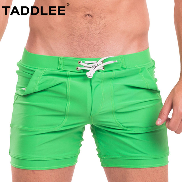 Taddlee Brand Sexy Men's Swimwear Swimsuits Men Bathing Suits Gay Basic Long Boardshorts Pocket Solid Trunks Boxer Briefs Shorts