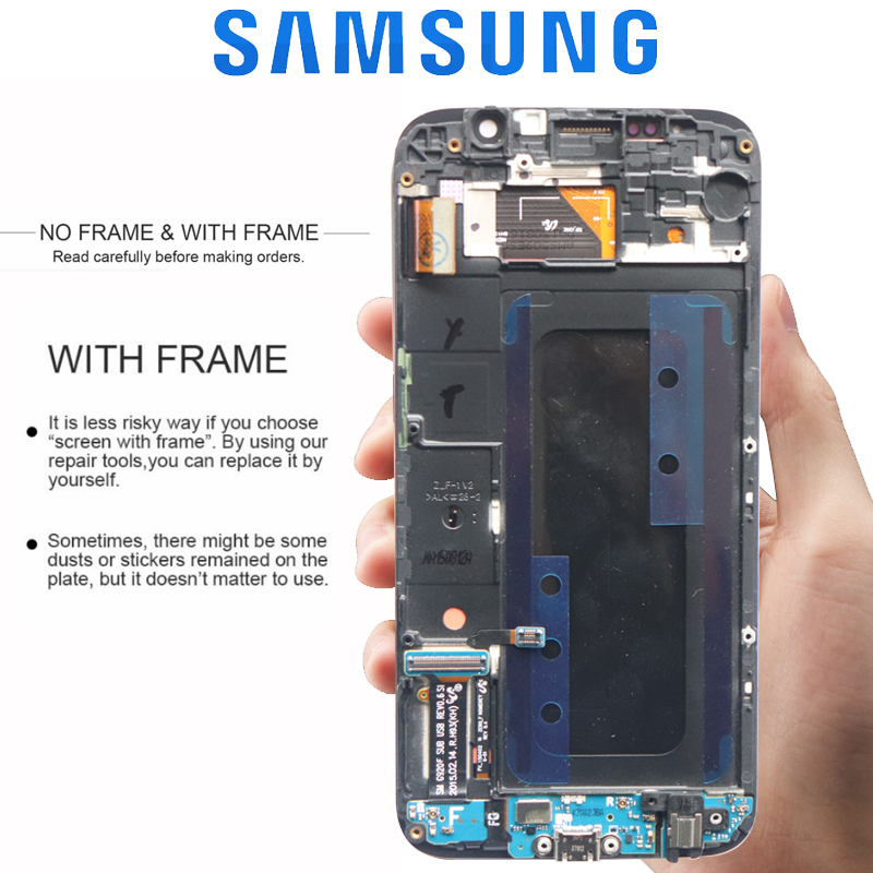 HTB1ntFrXMaH3KVjSZFpq6zhKpXav ORIGINAL 5.1'' AMOLED Burn-in Shadow LCD with Frame for SAMSUNG Galaxy S6 Display G920 G920F Touch Screen Digitizer Assembly