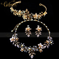 Envío gratis oro antiguo hoja de la aleación y esmalte joyería moda flor Set con Tiara collar y aretes 3 unids conjunto
