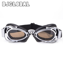 Motorcycle Helmet Vintage Pilot Goggles Sports Biker Retro Aviator Flying Sunglasses Goggle Moto protective Glasses Accessories