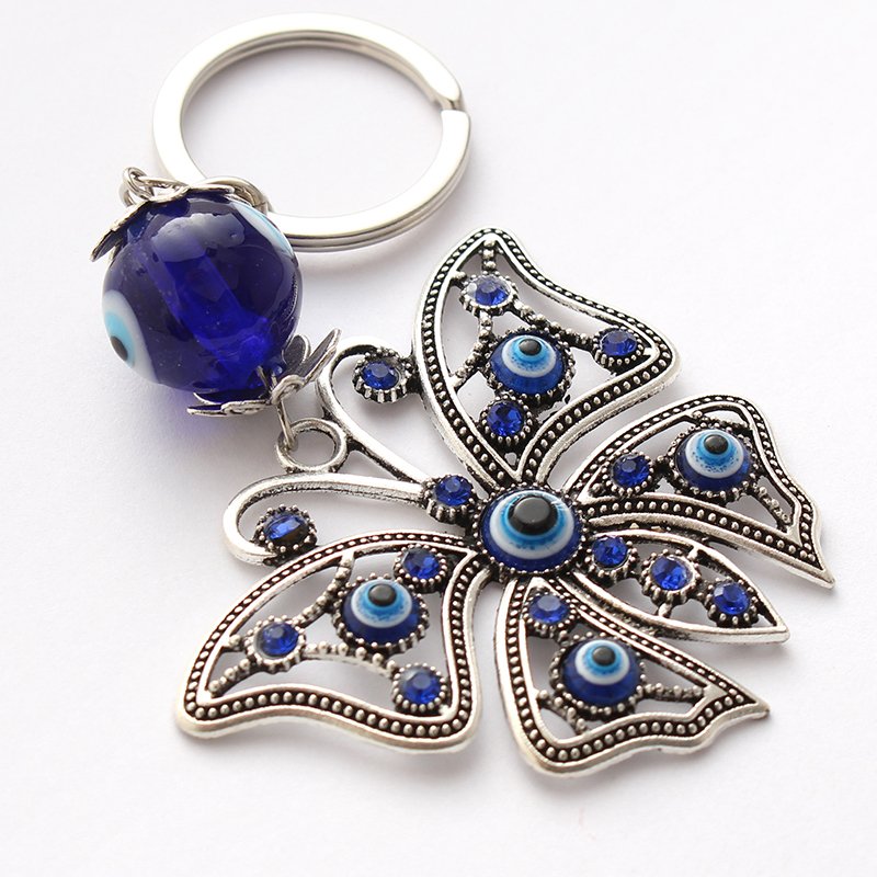 Evil Eye 2018 Fashion Blue Car Keychain Butterfly Shape Lucky Crystal Keychain Jewelry Pendant With BULE EVIL EYE BEADS EY4691