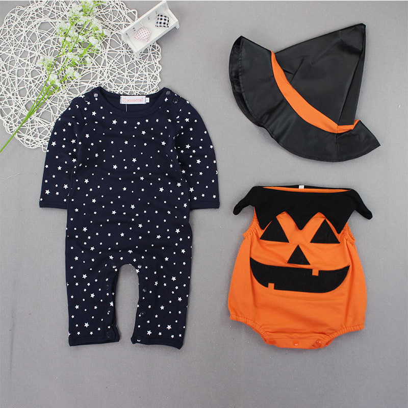 2 style Halloween Costume Pumpkin Baby Clothing Set 3pcs Romper+pumpkin Vest+Hat Infant Toddler Boys Girls Clothes for 0-2Y H931