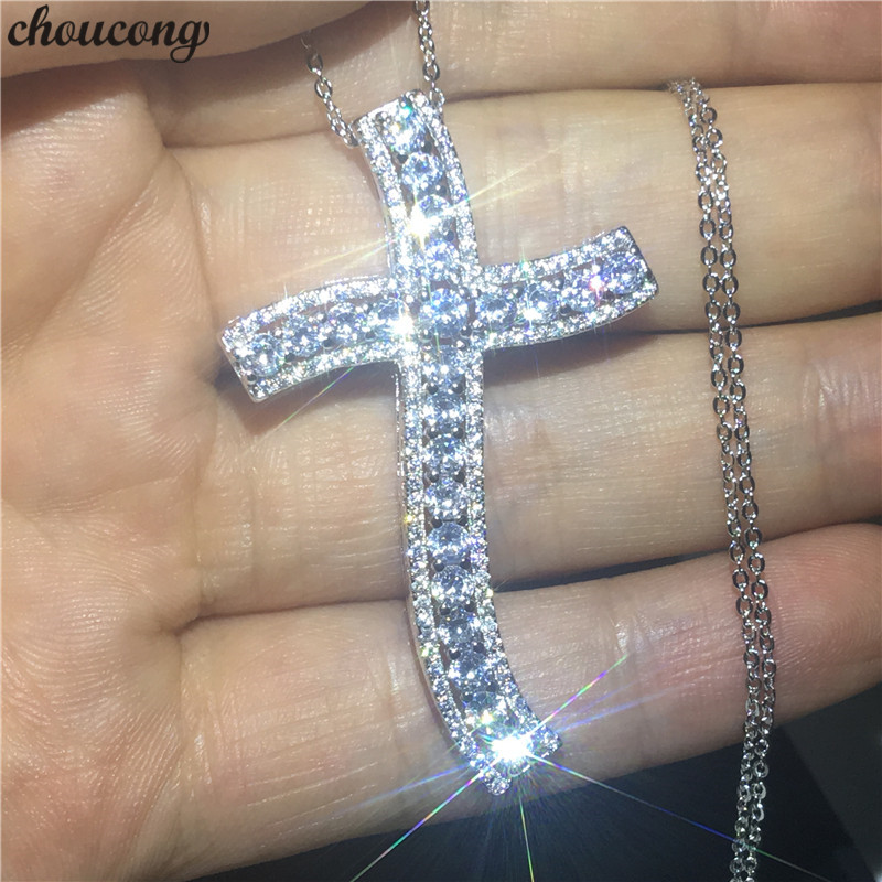 choucong Unique Big Cross Pendants AAAAA Cz Stone 925 Sterling silver Party Wedding Pendant with Necklaces for Women Men jewelrychoucong Unique Big Cross Pendants AAAAA Cz Stone 925 Sterling silver Party Wedding Pendant with Necklaces for Women Men jewelry