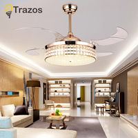 TRAZOS 42 inch Europe Gold Modern LED Wooden Ceiling fans With Lights Remote Control Living Room Bedroom Home Fan Lamp 220 Volt