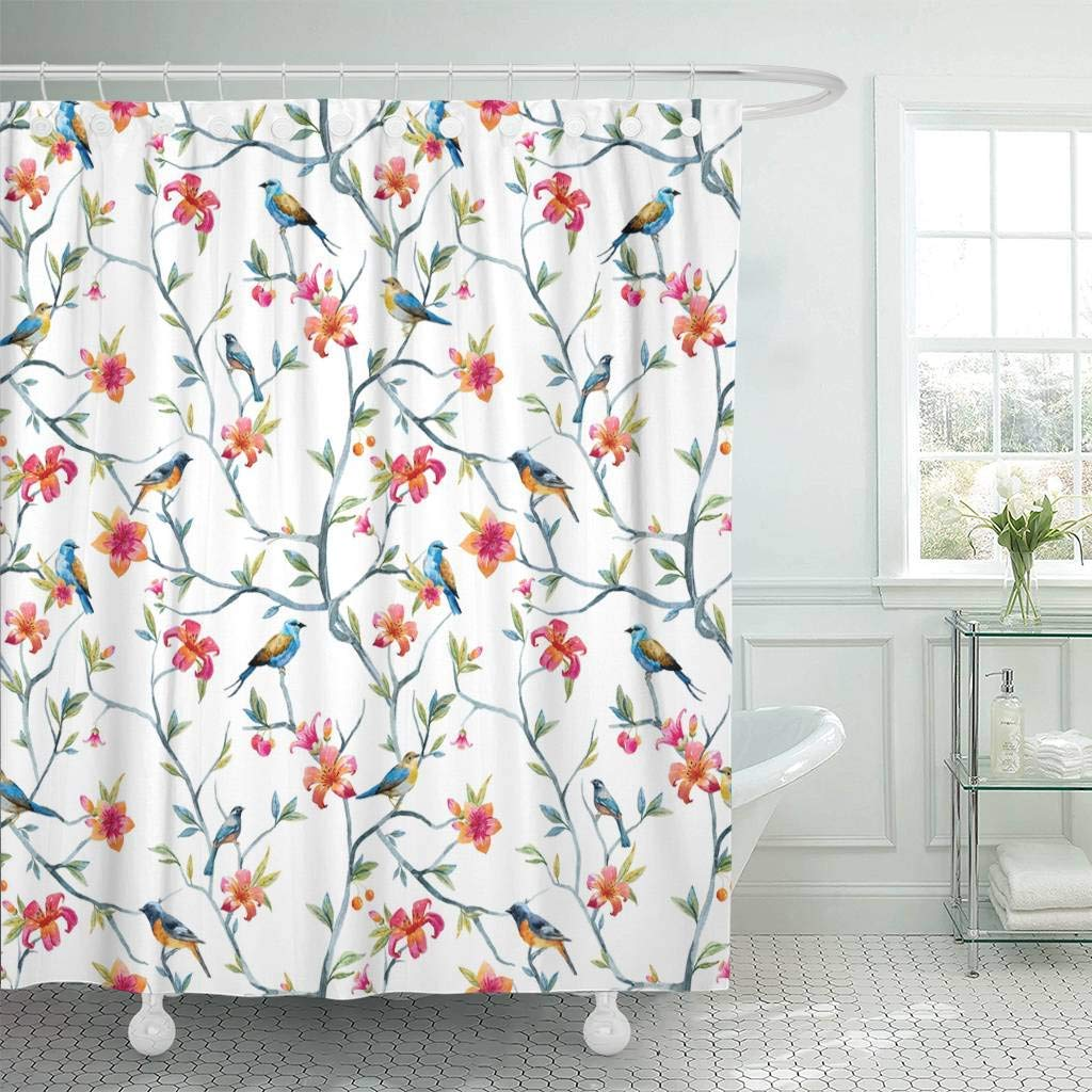 Us 17 48 30 Off Fabric Shower Curtain With Hooks Blue Animal Watercolor With Birds And Flowers Tree Spring Pink Colorful Floral Peacock In Shower
