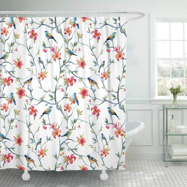 Fabric Shower Curtain With Hooks Blue Animal Watercolor Birds And Flowers Tree Spring Pink Colorful Floral Peacock