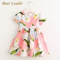 Bear Leader Girl Dress 2017 Brand Girls Summer Dresses Kids Short Sleeve Cotton Flowers Knee Length